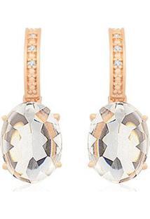 Brinco Ouro Rosã© Cristal E Diamantes
