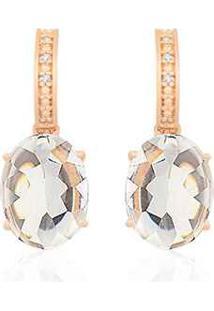 Brinco Ouro Rosé Cristal E Diamantes