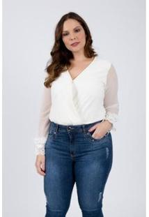 Body Almaria Plus Size Lady More Malha Feminino - Feminino-Off White