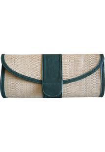 Clutch Bolsa Carteira De Mão Artestore Palha Verde