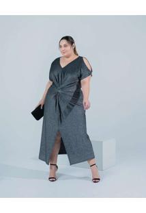 Vestido Almaria Plus Size Miss Taylor Midi Manga V