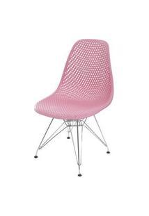 Cadeira Eames Furadinha Cor Rosa Com Base Cromada - 55990 Rosa