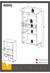 Armário Multiuso Para Forno E Microondas 2 Portas 1 Gaveta Multimóveis Branco Brilho
