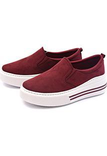 Slip On Flatform Casual Touro Boots Feminino Vinho - Kanui