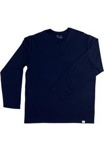 Camiseta Mash Modal Manga Longa Gola Careca Masculina - Masculino-Marinho