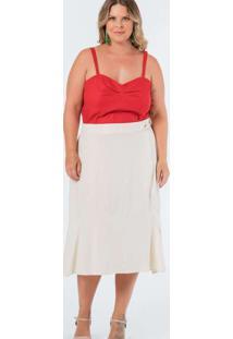 Saia Almaria Plus Size Munny Midi Camada Branco