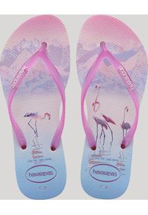 Chinelo Feminino Havaianas Slim Paisage Estampado De Flamingo Rosa Claro