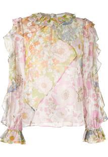 Zimmermann Blusa Floral Translúcida - Laranja