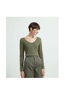 Blusa Básica Em Algodão Com Decote V E Manga Longa | Marfinno | Verde | P