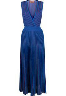 Missoni Vestido De Tricô Metálico Com Pregas - Azul