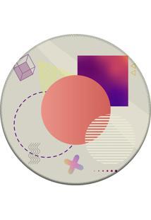 Tapete Love Decor Redondo Wevans Elementos Geométricos Multicolorido 84Cm