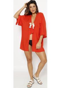 Kimono Liso Com Amarraã§Ã£O- Laranja & Off White- Patrpatra