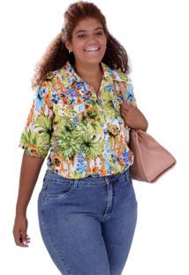 Camisa Marta Estampada Plus Size Vickttoria Vick Plus Size Verde