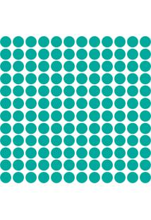 Adesivo De Parede Bolinhas Azul Turquesa 144Un...