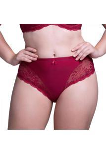 Calcinha Beline Plus Size Alta Renda Marcyn - Feminino-Vermelho