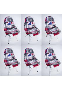 Kit Com 06 Capas Para Cadeira De Jantar Eiffel Wood Londres - Kanui