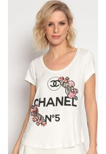 "Blusa ""Chanel Nâº5""- Off White & Preta- Cavalaricavalari"
