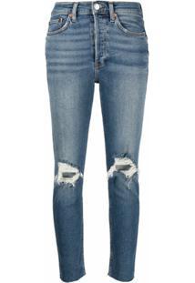 Re/Done Calça Jeans Slim Cropped Com Efeito Desgastado - Azul