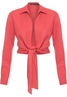 Camisa Feminina Cropped Torção - Vermelho
