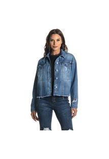 Jaqueta Jeans Cropped Denuncia Denim 214323194 Azul