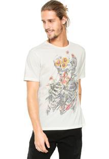 Camiseta John John Slit Flower Bege
