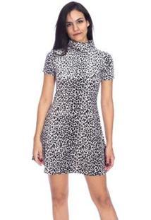 Vestido Moda Vicio Gola Alta Manga Curta Feminino - Feminino-Branco+Preto