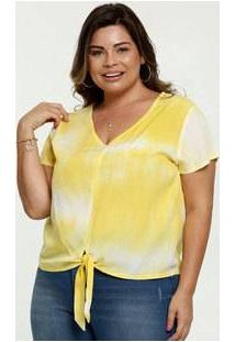 Blusa Feminina Amarração Tie Dye Plus Size Manga Curta