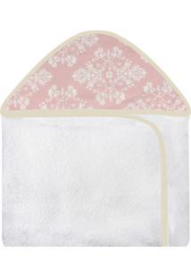 Toalha De Banho C/ Capuz Estampado Laura Baby - Provençal Rosê