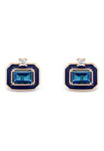 Brinco Policroma Ouro Rosé Topázio London E Diamantes Pequeno
