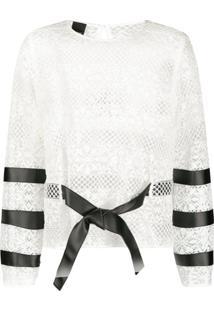 Pinko Blusa Com Recortes De Renda - Branco