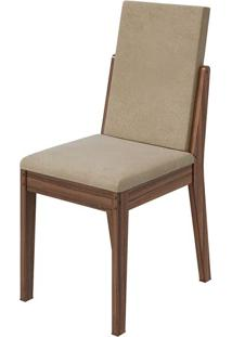 Cadeira Lira Veludo Naturale Creme Imbuia Naturale