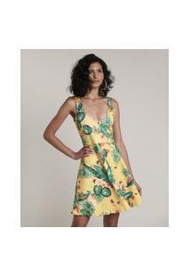 Vestido Feminino Curto Evasê Estampado De Folhagem Alças Médias Amarelo