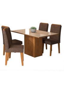 Conjunto De Mesa Com 4 Cadeiras Para Sala De Jantar 130X80 Ana/Tais-Cimol - Savana / Off White / Cacau