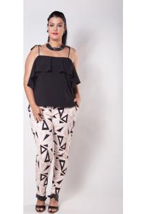 Calça Kapsuli Plus Size Alfaiataria Estampada Preta/Branca/Rosê