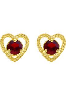 Brinco Horus Import Ponto Luz Coração Vermelho Rubi Banhado Ouro Amarelo 18 K - 1031126