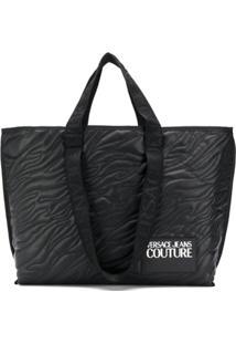Versace Jeans Couture Bolsa Tote Com Detalhe De Pesponto - Preto