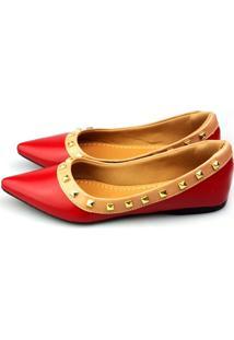 Sapatilha Love Shoes Bico Fino Valentino Spike Vermelho