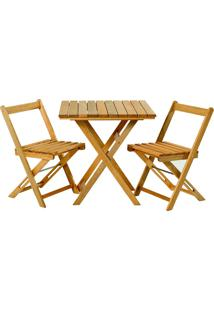 Conjunto De Mesa Com 2 Cadeiras Dobráveis Boteco-Mão E Formão - Jatobá