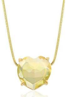 Colar Toque De Joia Coração Pedra Natural Quartzo Green Gold - Feminino-Dourado