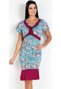 Vestido Com Babado Floral Azul Moda Evangélica
