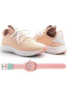 Kit Tênis Têxtil Mesh Elástic + Relógio Urban Style Feminino - Feminino-Rosa Claro