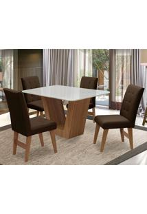 Conjunto De Mesa Para Sala De Jantar Com 4 Cadeira Veneza-Dobue - Cedro / Branco Off / Chocolate Vlp