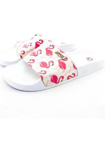 Chinelo Slide Quality Shoes Feminino Flamingo Rosa/Bege Sola Branca 41 41