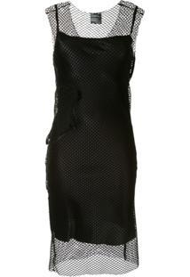 Ann Demeulemeester Vestido Translúcido Com Mesh - Preto