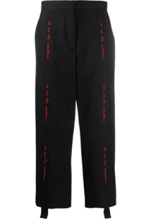 Stella Mccartney Calça Cropped Com Bordado - Preto