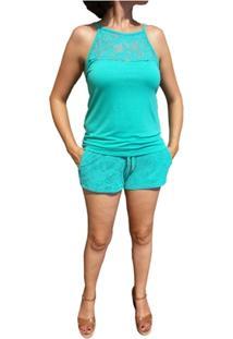 Pijama Com Tecido Em Crochê Verde - Feminino