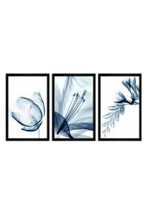 Quadro Oppen House 60X120Cm Flores Abstrato Transparentes Moldura Preta Estilo Raio-X Decorativo Interiores Mod:Oh001