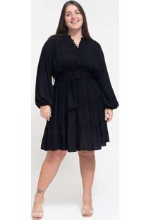 Vestido Curto Almaria Plus Size Tal Qual Com Cinto
