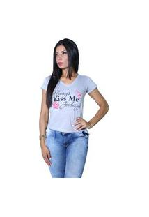 Camiseta Heide Ribeiro Always Kiss Me Goodnight Cinza Mescla