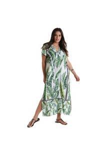 Vestido Longo Com Abertura Lateral Maya - Verde - Líquido